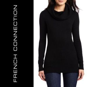 French Connection Black Tunic Cowl Neck Sweater